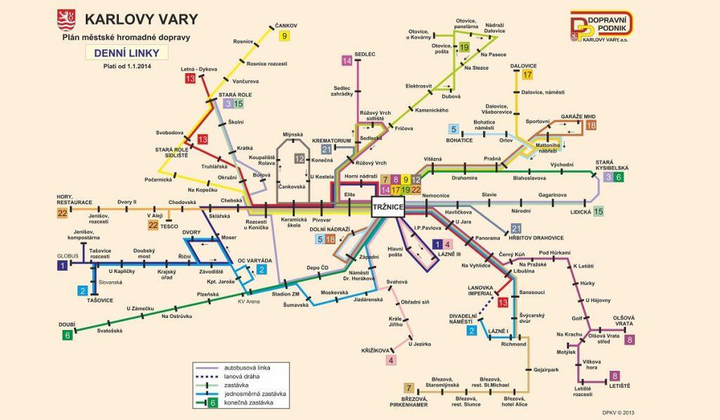 Карта городских линий в Карловых Варах