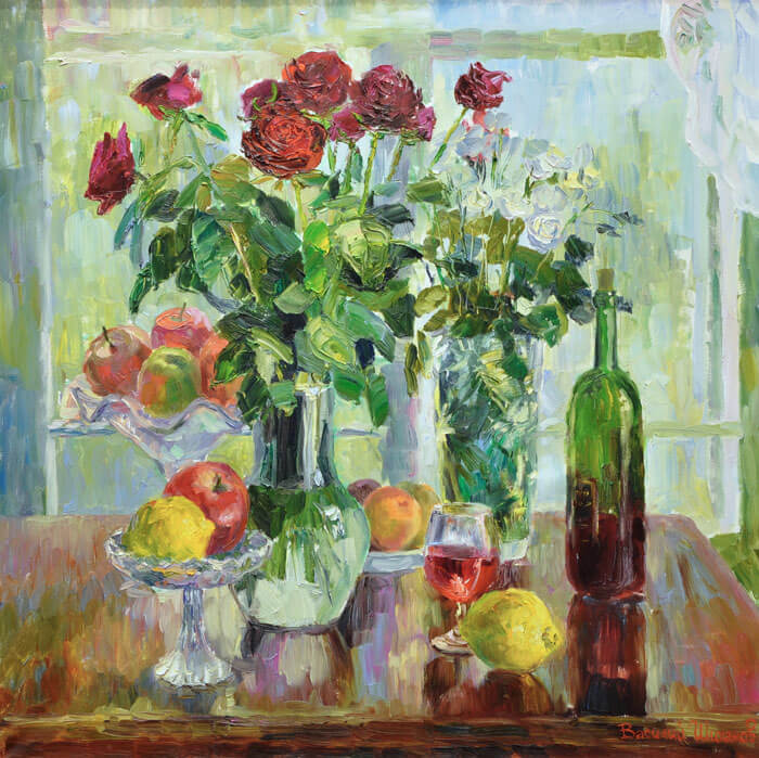 "В. Шиханов ""Натюрморт на фоне окна с розами и фруктами»"